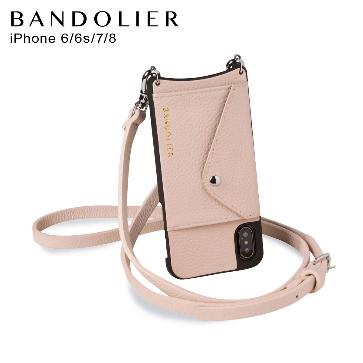 バンドリヤー BANDOLIER iPhone SE 8 7 6s 6 ケース スマホ 携帯 ショルダー アイフォン メンズ レディース レザー DONNA SIDE SLOT PINK ピンク 14DON