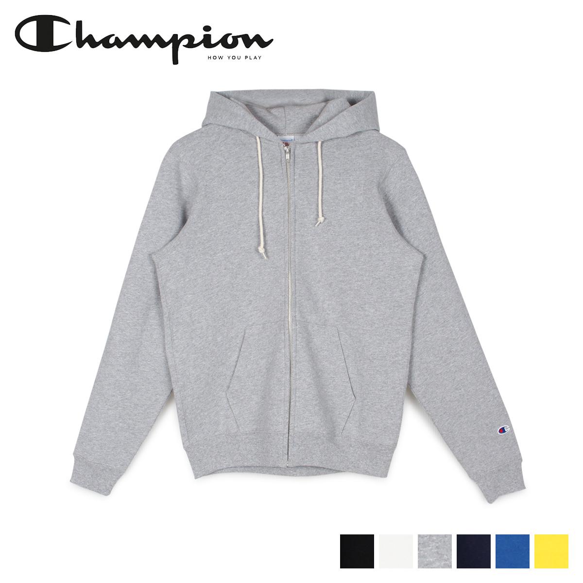Champion チャンピオン パーカー スウェット ジップアップ メンズ レディース FULL ZIP HOODED SWEATSHIRT ブラック ホワイト グレー ネイビー ブルー イエロー 黒 白 C5-Q101