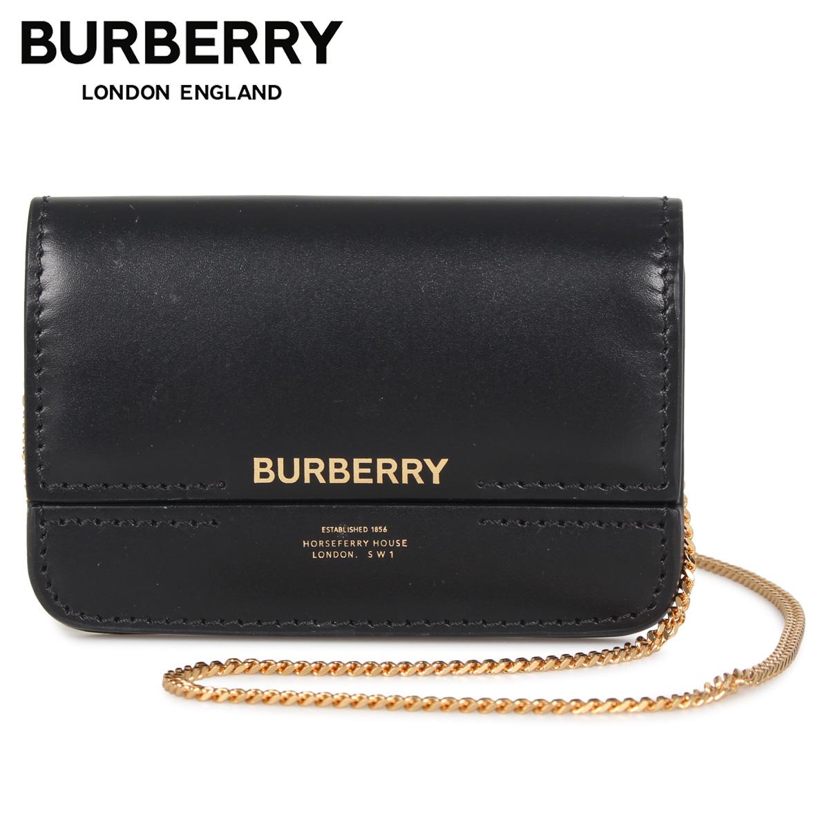 BURBERRY バーバリー パスケース カードケース ID 定期入れ ショルダー レディース HORSEFERRY PRINT CLUTCH CARD CASE ブラック 黒 8011478 [3/4 新入荷]