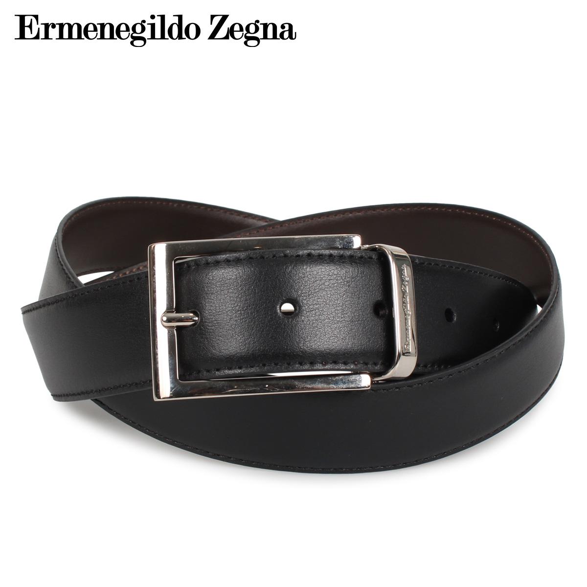 Ermenegildo Zegna エルメネジルドゼニア ベルト レザーベルト 本革 メンズ リバーシブル BELT ブラック 黒 ZPJ45-902 [4/17 新入荷]