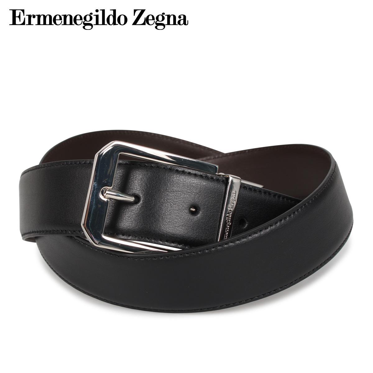 Ermenegildo Zegna エルメネジルドゼニア ベルト レザーベルト 本革 メンズ リバーシブル BELT ブラック 黒 ZPJ45-977 [4/17 新入荷]