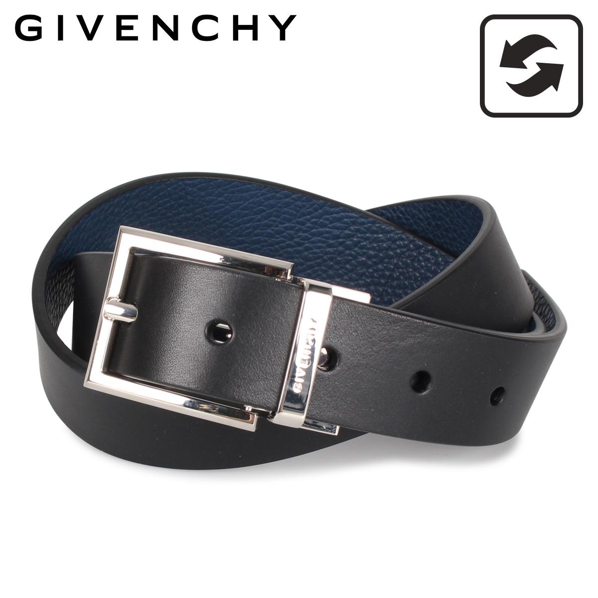 GIVENCHY ジバンシィ ベルト レザーベルト メンズ 本革 レザー リバーシブル ブラック ブルー 黒 BK401K [3/9 新入荷]