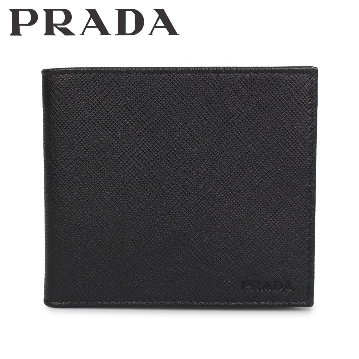 PRADA プラダ 財布 二つ折り ミニ財布 サフィアーノ メンズ SAFFIANO ブラック 黒 2MO738-053 [3/9 新入荷]