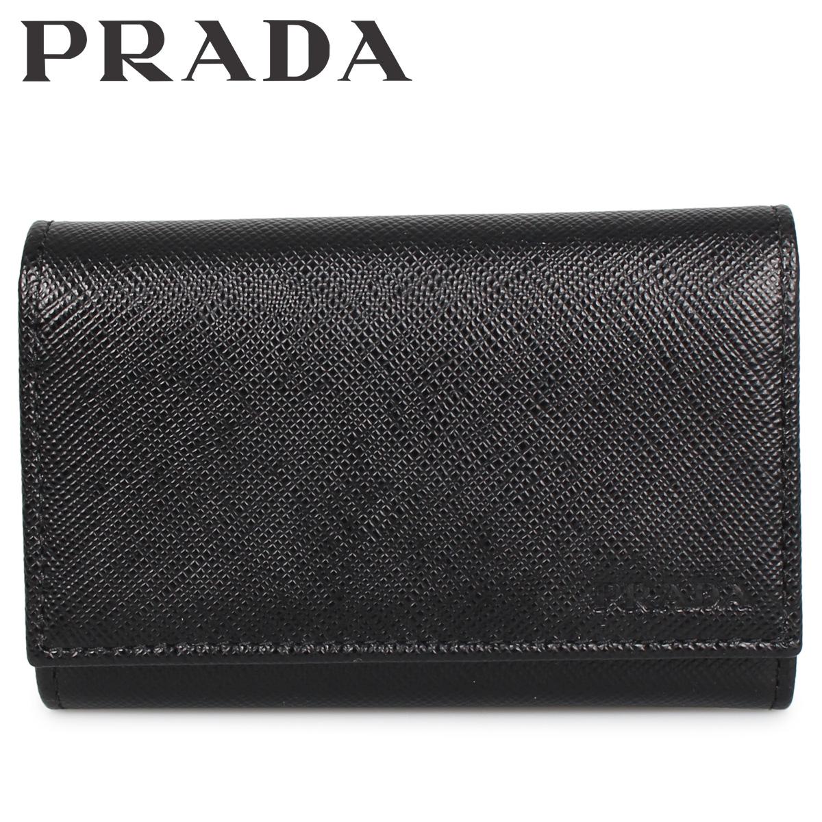 PRADA プラダ キーケース キーホルダー サフィアーノ メンズ 6連 SAFFIANO ブラック 黒 2PG002-053 [3/9 新入荷]
