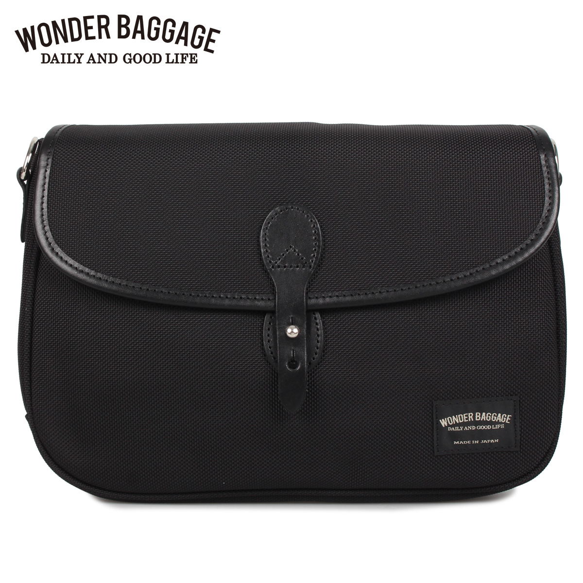 WONDER BAGGAGE ワンダーバゲージ バッグ ショルダーバッグ メンズ レディース 4L GOODMANS FLAP SHOULDER ブラック 黒 [4/6 新入荷]