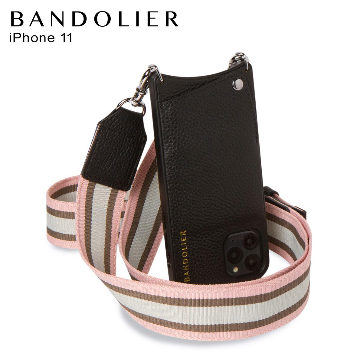 バンドリヤー BANDOLIER キンバリー サイドスロット iPhone11 ケース スマホ 携帯 アイフォン ショルダー メンズ レディース レザー KIMBERLY SIDE SLOT PINK WHITE ブラック 黒 10KIM [5/1 新入荷]