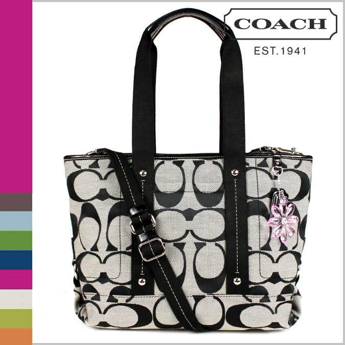 Coach COACH tote bag 2-Way black x white Daisy signature