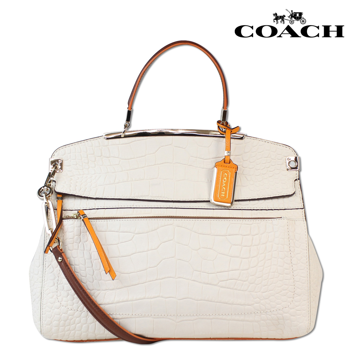 Coach Women S Boutique Products Handbags 2 Way Bag 30 225 Brushed Madison Pinnacle Embossed Croco Leather Top Handle Satchel