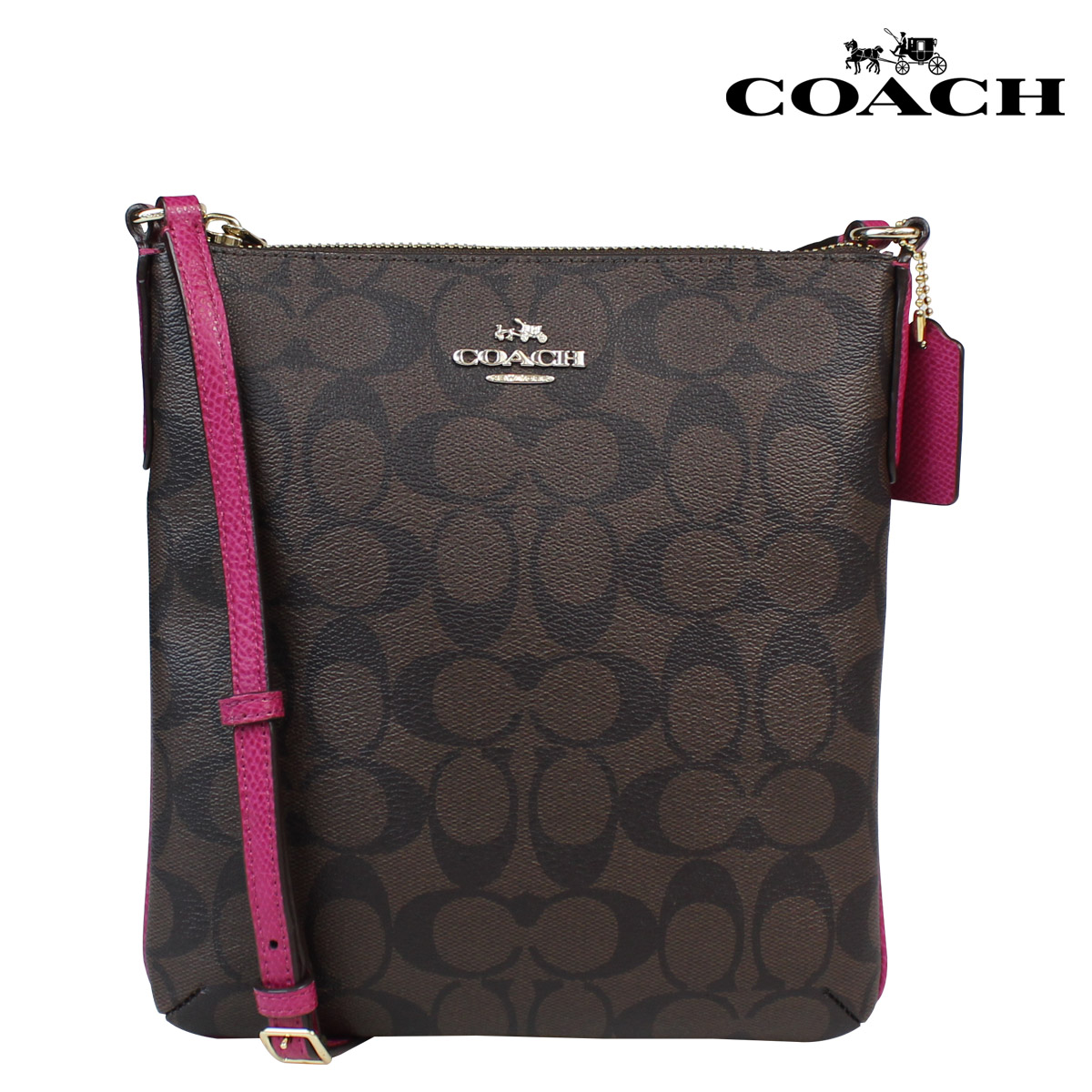 3c12244740 Coach COACH women s shoulder bag F35940 Brown x Cranberry signature NS  cross body  12   1 new in stock