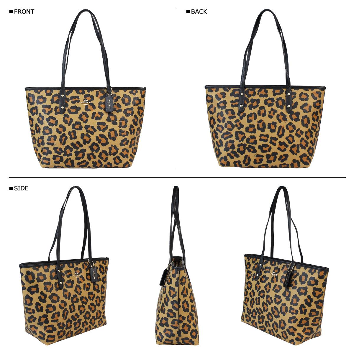Coach Womens Tote Bag F36883 Neutral Ocelot Print City Zip