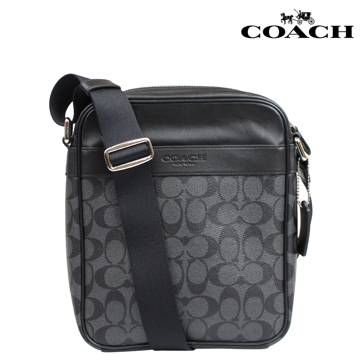 60a1b6e95 ... australia coach coach bag shoulder bags mens f71764 charcoal black  signature flight bag 697a6 fa64d