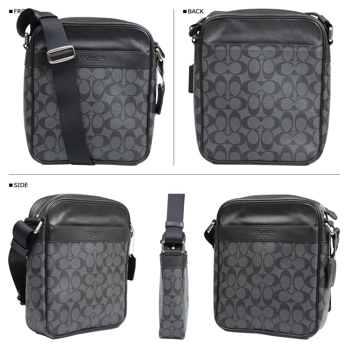 445acbd6886d ... Coach COACH bag shoulder bags mens F71764 charcoal black signature  flight bag ...