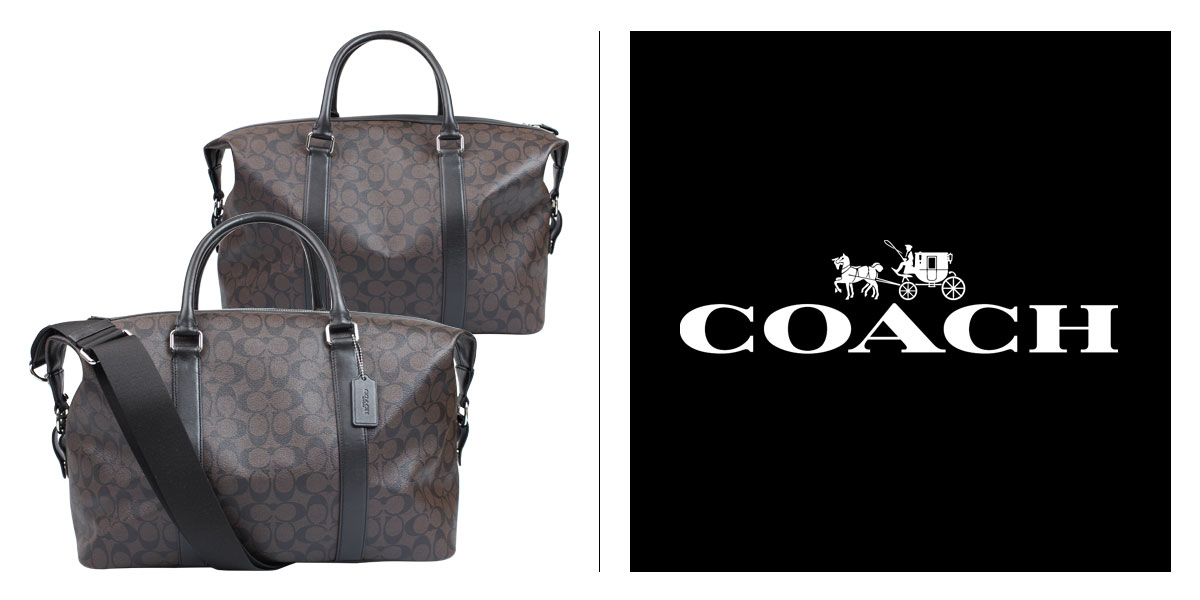 Coach COACH bag bag duffel bag mens F93456 mahogany x Brown signature  Explorer roller Duffel a5beb8264ecfe
