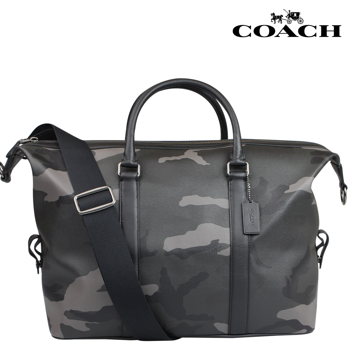 [SOLD OUT]教练COACH menzubosutombaggudaffurubaggu 2WAY F93514灰色野鸭PVC purintoekusupuroradaffuru