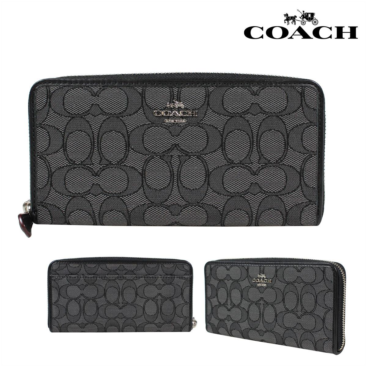 COACH コーチ 財布 長財布 F54633 スモークブラック 黒×ブラック 黒 レディース