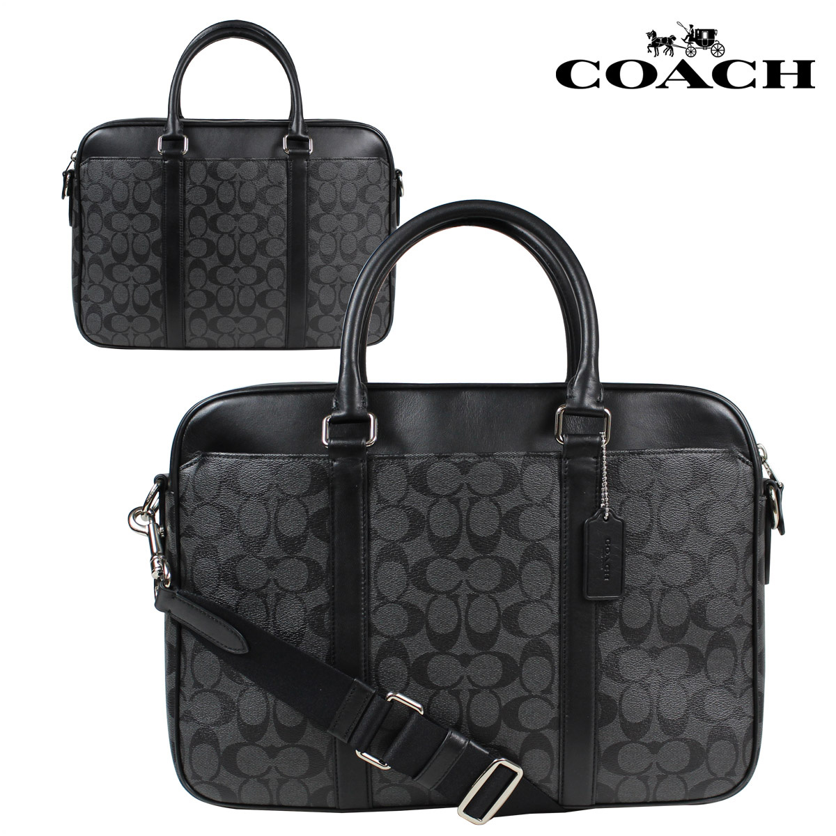 Coach Men S Bag Business Briefcase F54803 Charcoal Black