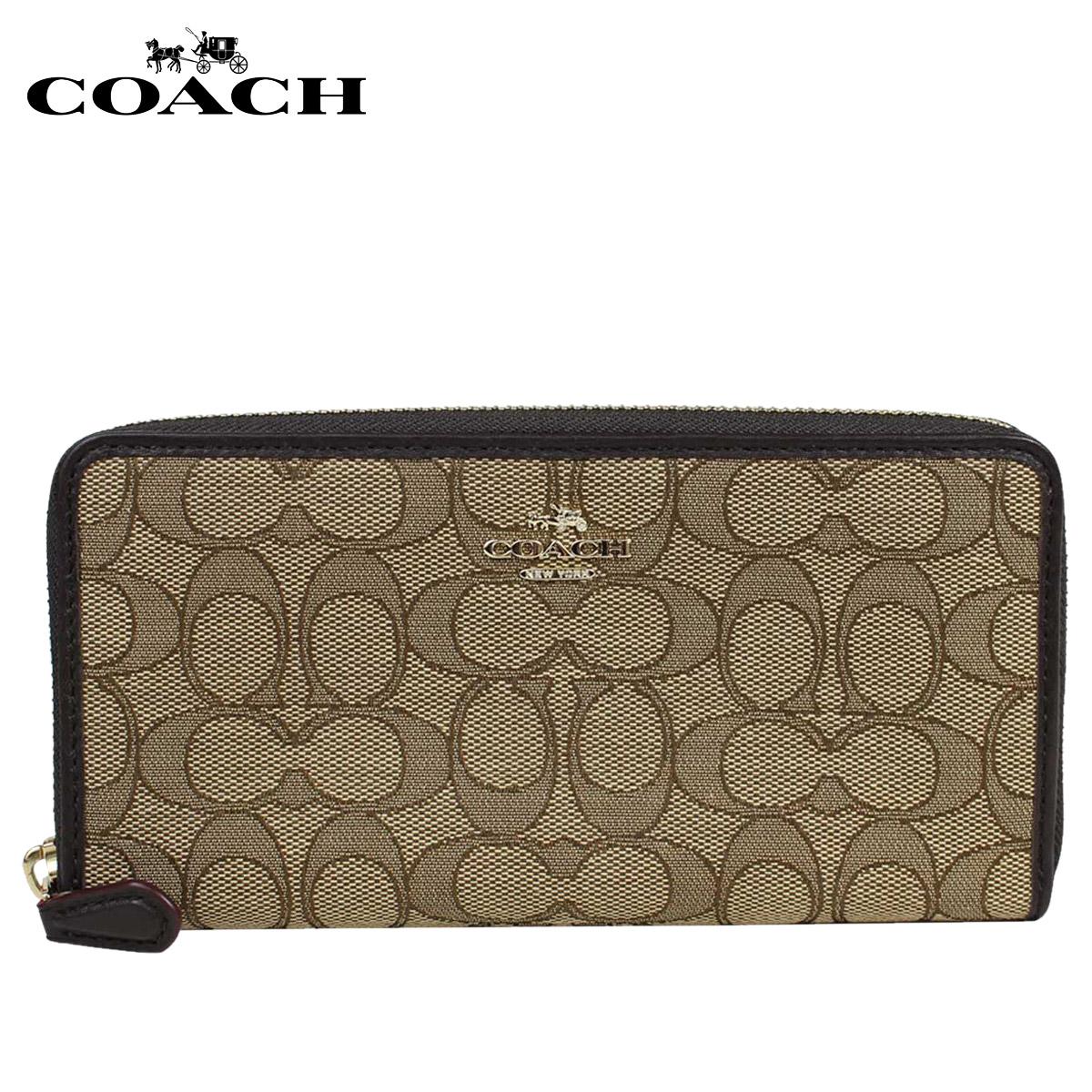 COACH コーチ 財布 長財布 F54633 カーキ×ブラウン レディース