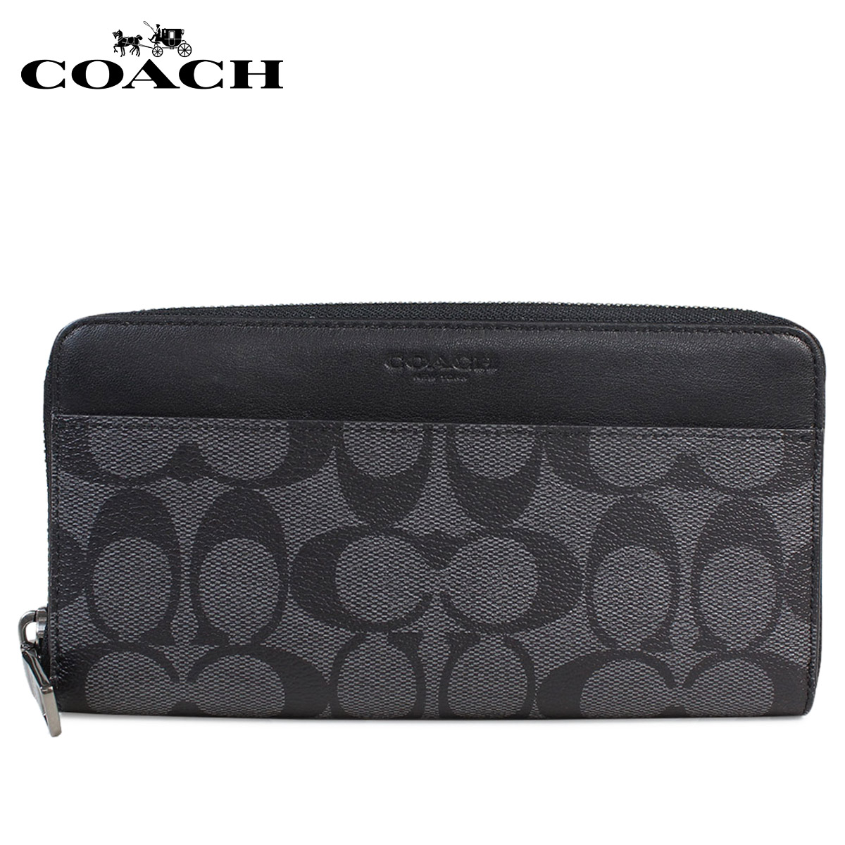 b2f9f16c6b COACH long wallet men coach wallet leather genuine leather F58112 CQBK  charcoal X black black