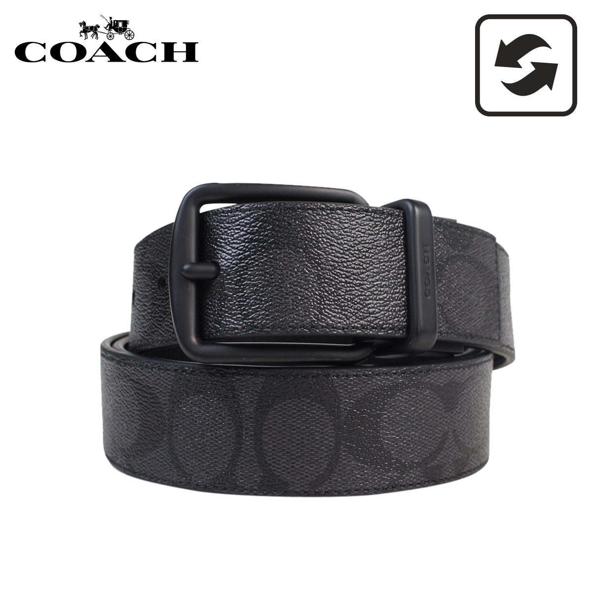 COACH コーチ ベルト メンズ 本革 レザー リバーシブル ビジネス ブラック 黒 F64839 BKBK [3/1 再入荷]