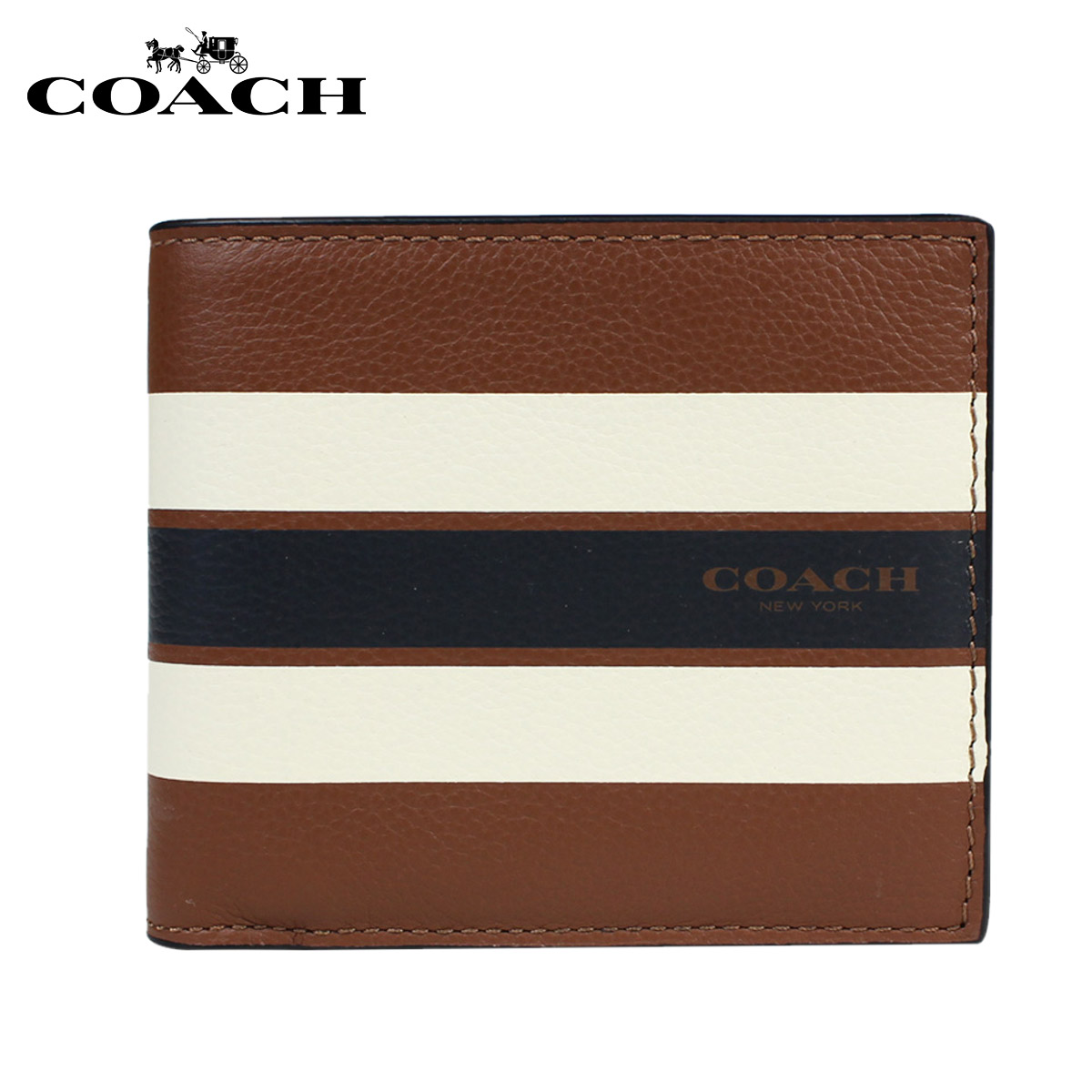 c43fe38a3c COACH coach men wallet folio wallet ID case F75399 dark saddle