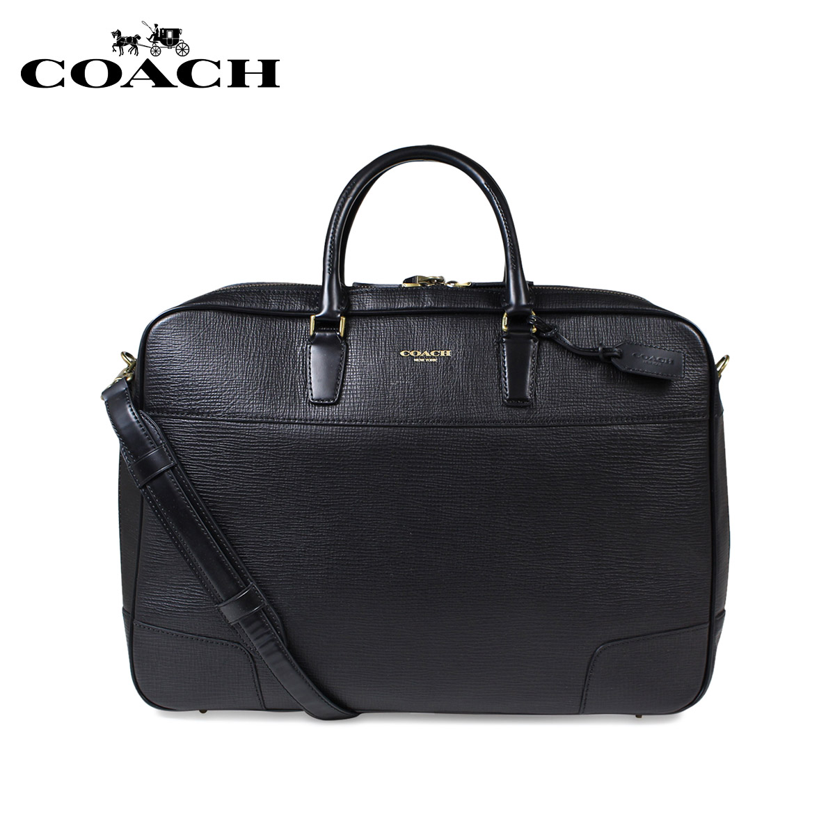 cde35f8593db Coach suitcase men COACH genuine leather briefcase business bag F93282  black black