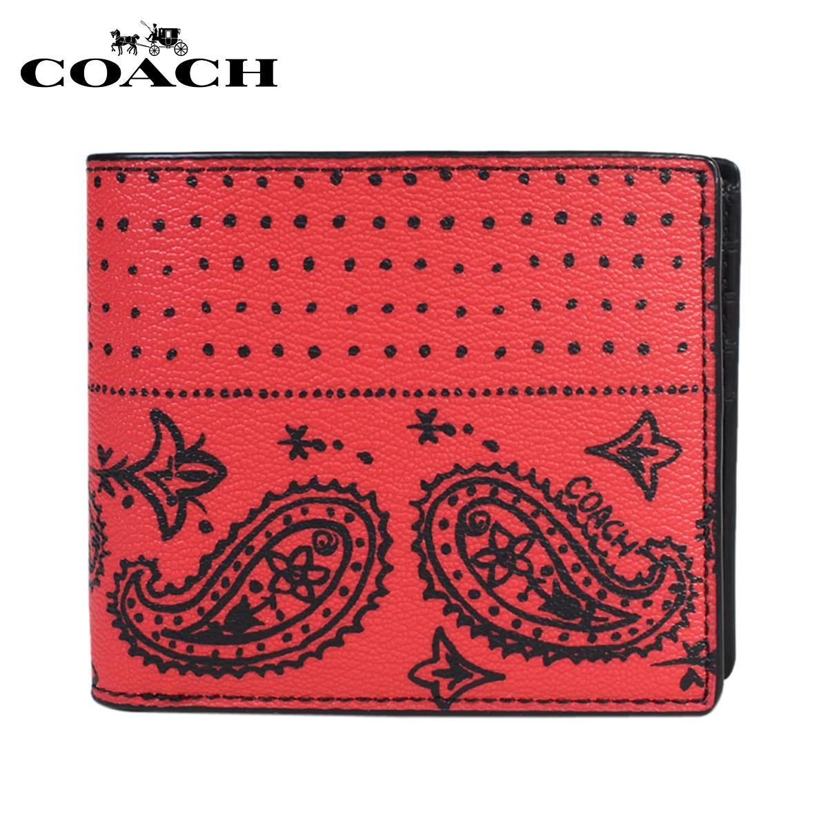 教练COACH钱包对开人皮革F57653红×黑色印花大手帕[4/18新进货]