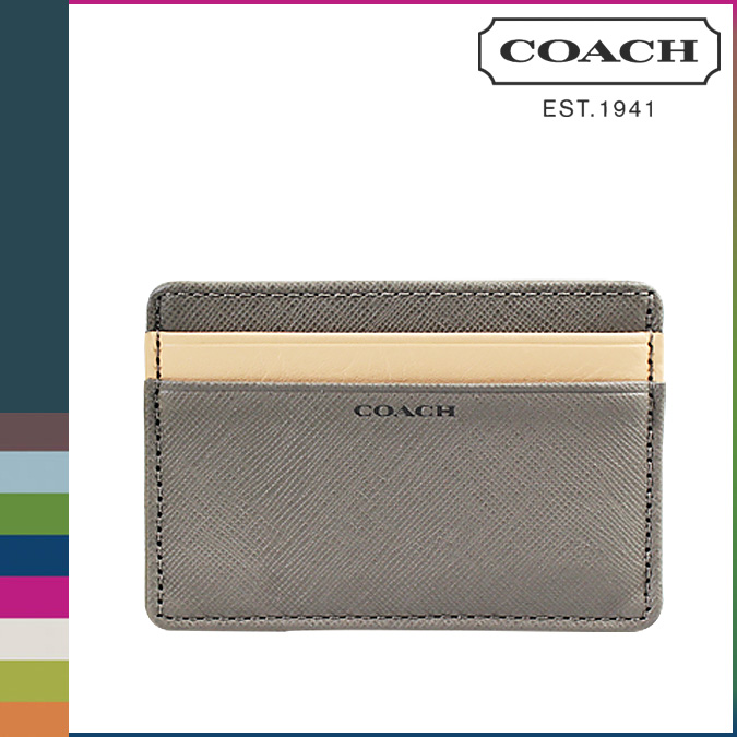 Coach Men S Card Business Holder F74772 Sterling Gray Lexington With Saffiano Leather Slim