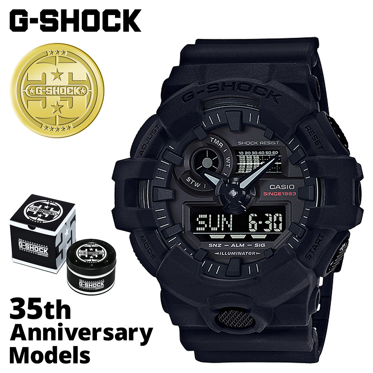 f9551b0e5e9 G shock G-Shock G- shock black black men gap Dis of the 35th anniversary of  CASIO Casio G-SHOCK watch GA-735A-1AJR BIG BANG BLACK
