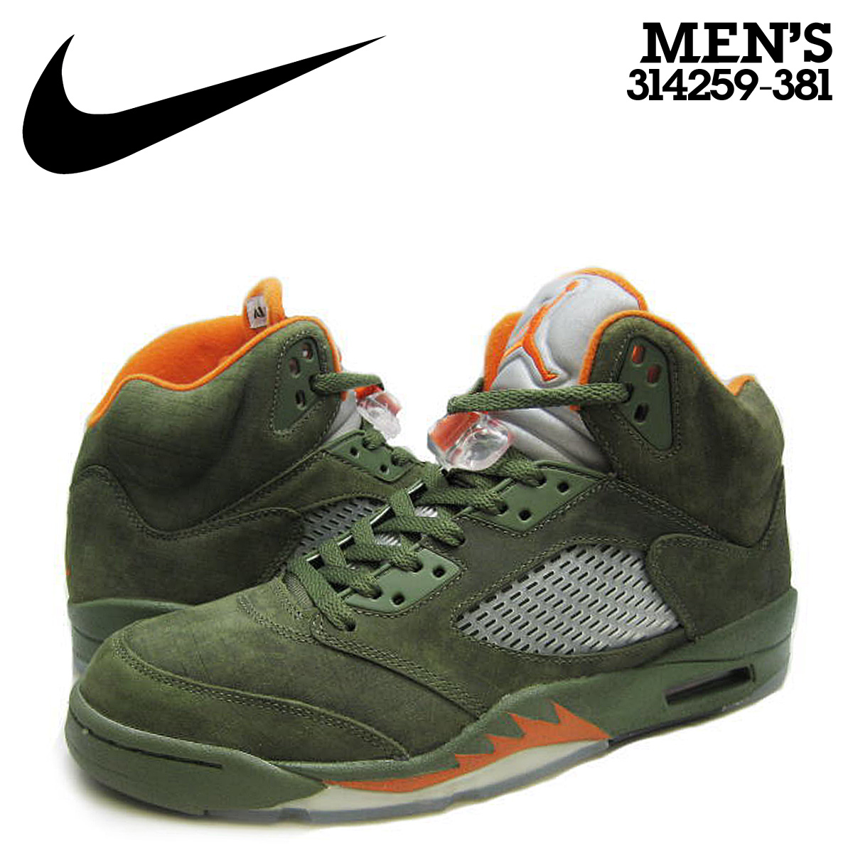 buy popular 852db d4379 NIKE Nike Air Jordan sneakers AIR JORDAN 5 RETRO LS ARMY OLIVE Air Jordan  nostalgic lifestyle 314,259-381 green men [◆]