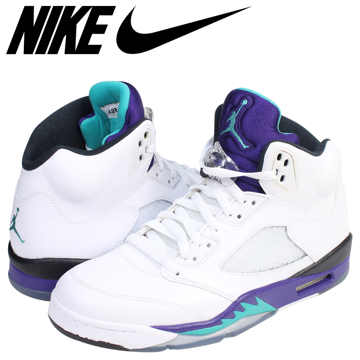 best service c122e 317c8 Nike NIKE Air Jordan 5 nostalgic sneakers AIR JORDAN 5 RETRO GRAPE  136,027-108 men s shoes white