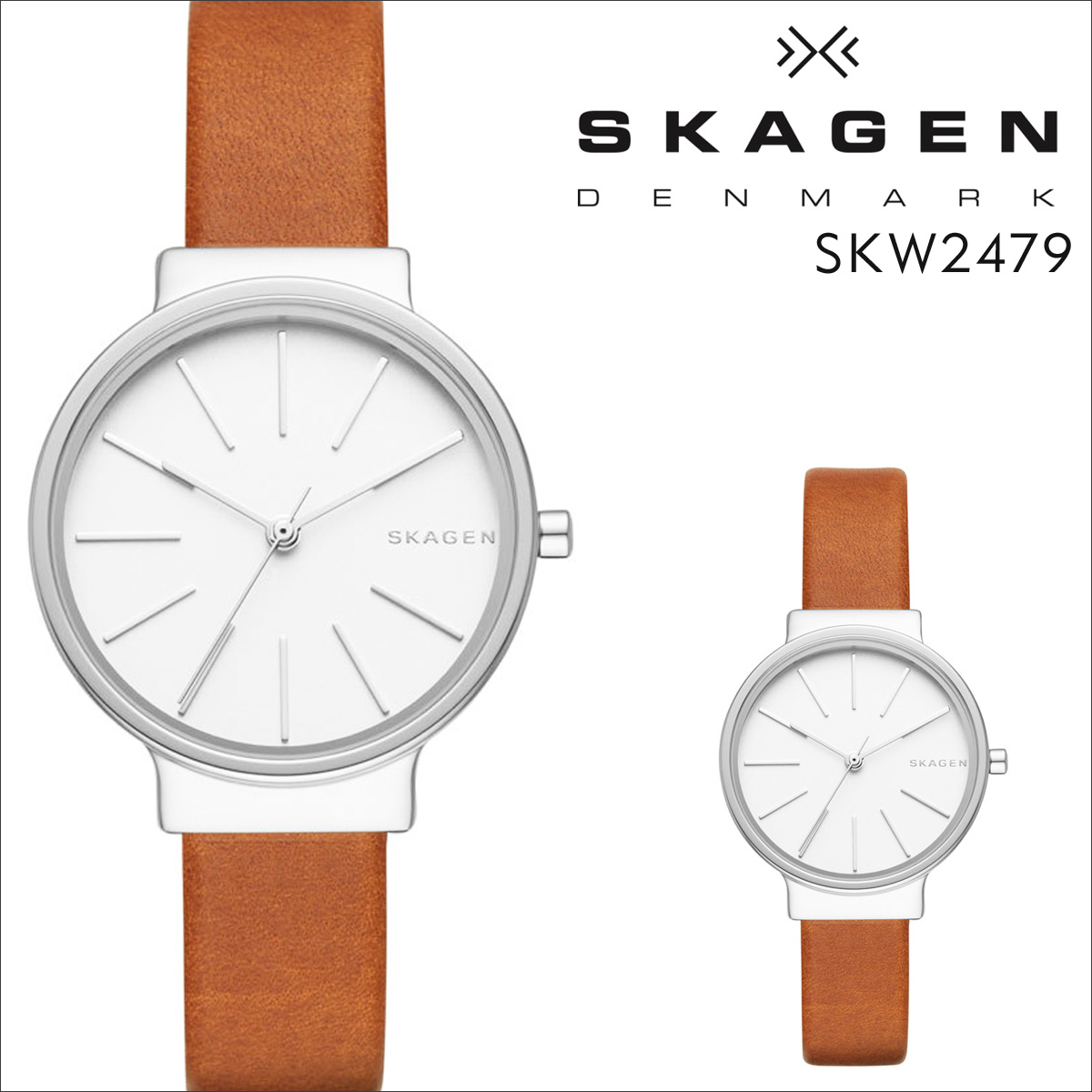 スカーゲン SKAGEN 腕時計 レディース 時計 レザー ANCHER アンカー SKW2479 ブラウン 防水 [ あす楽対象外 ]