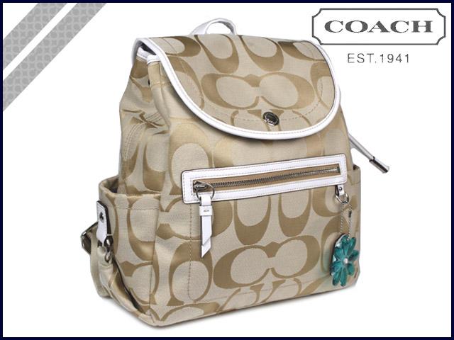 教练教练罂粟罂粟背包轻卡其色白色雏菊签名背包