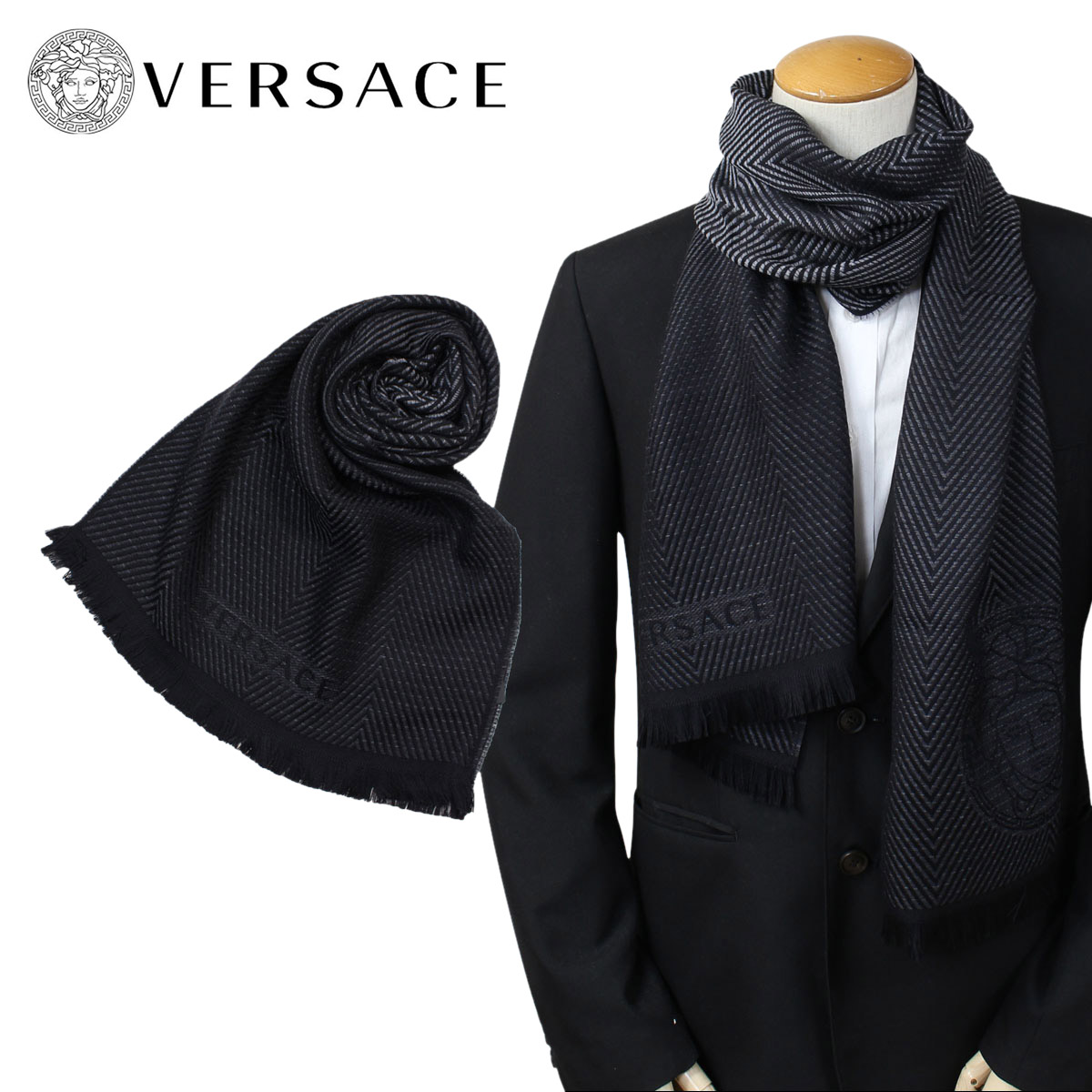 Product made in bell search VERSACE scarf Versace men wool Italy casual  business black black 06450