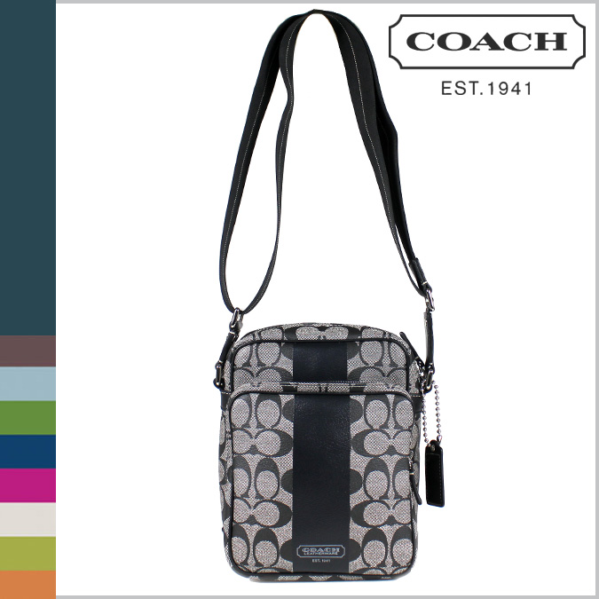 Coach Men S Shoulder Bag Black White Signature Heritage Stripe Diagonally Over