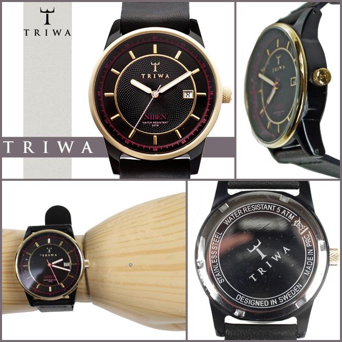 三 TRIWA 手表 NIAC 103 NIVEN 皮革男士女式黑色 x 黄金