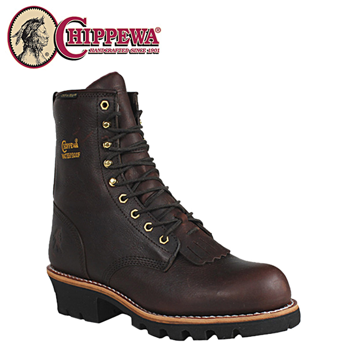 [SOLD OUT]chipewa CHIPPEWA工作长筒靴棕色73061 8 BRIAR INSULATED WATERPROOF LOGGER M怀斯W怀斯皮革人