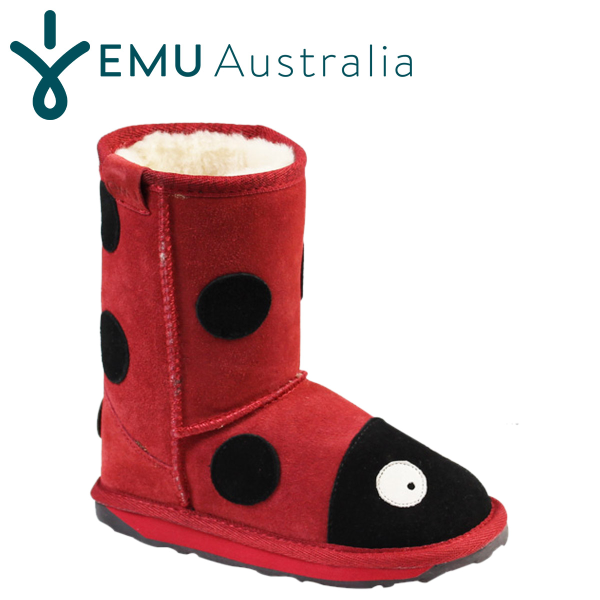 87157916ec6 LITTLE CREATURES LADY BUG Sheepskin kids ' boots EMU EMU yachts Ladybug  Sheepskin boots [Red] K10111 [regular]