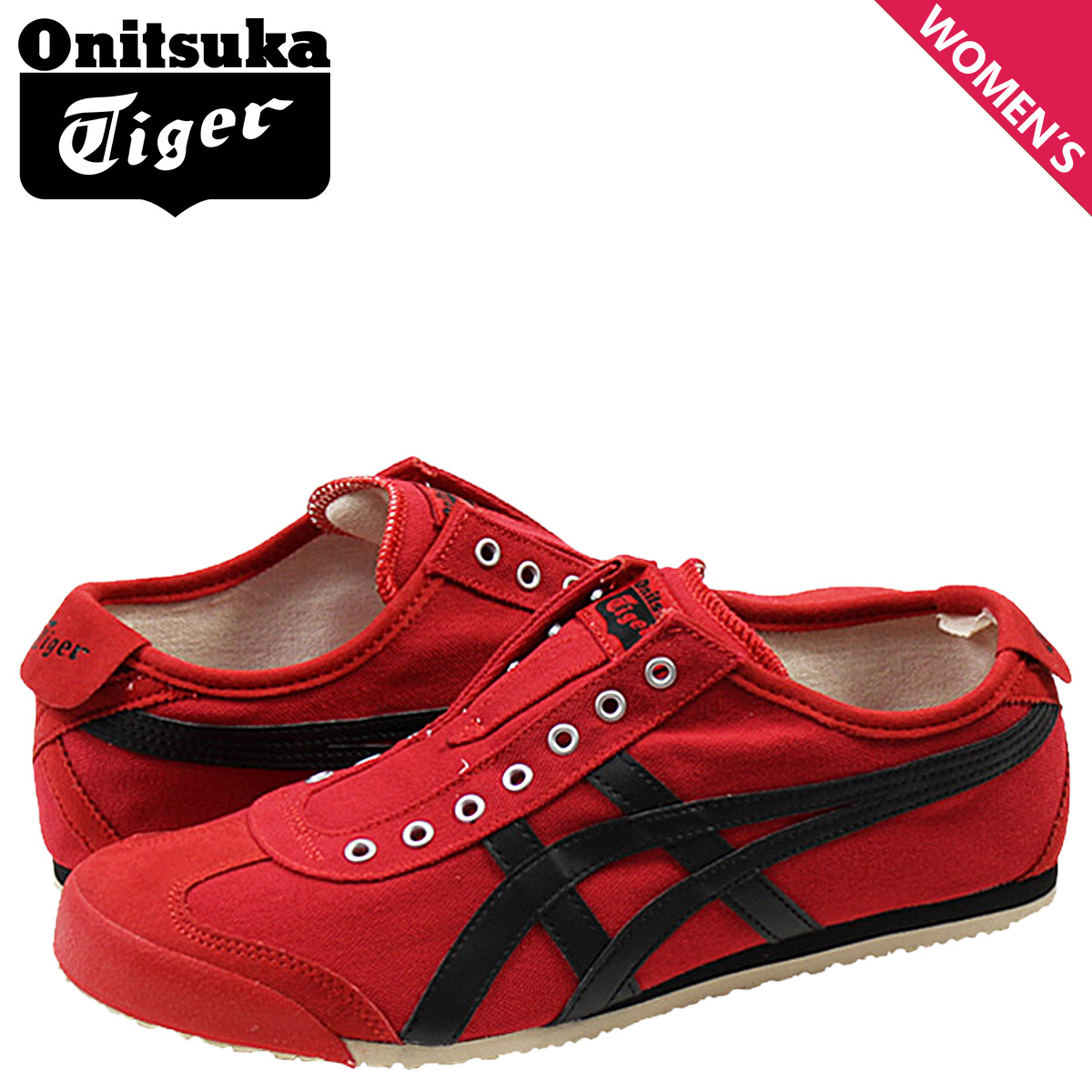 super popular da971 31bf4 Onitsuka tiger ASICS Onitsuka Tiger asics Lady's MEXICO 66 SLIP-ON sneakers  Mexico 66 slip-ons canvas TH3K0N-2390 red red