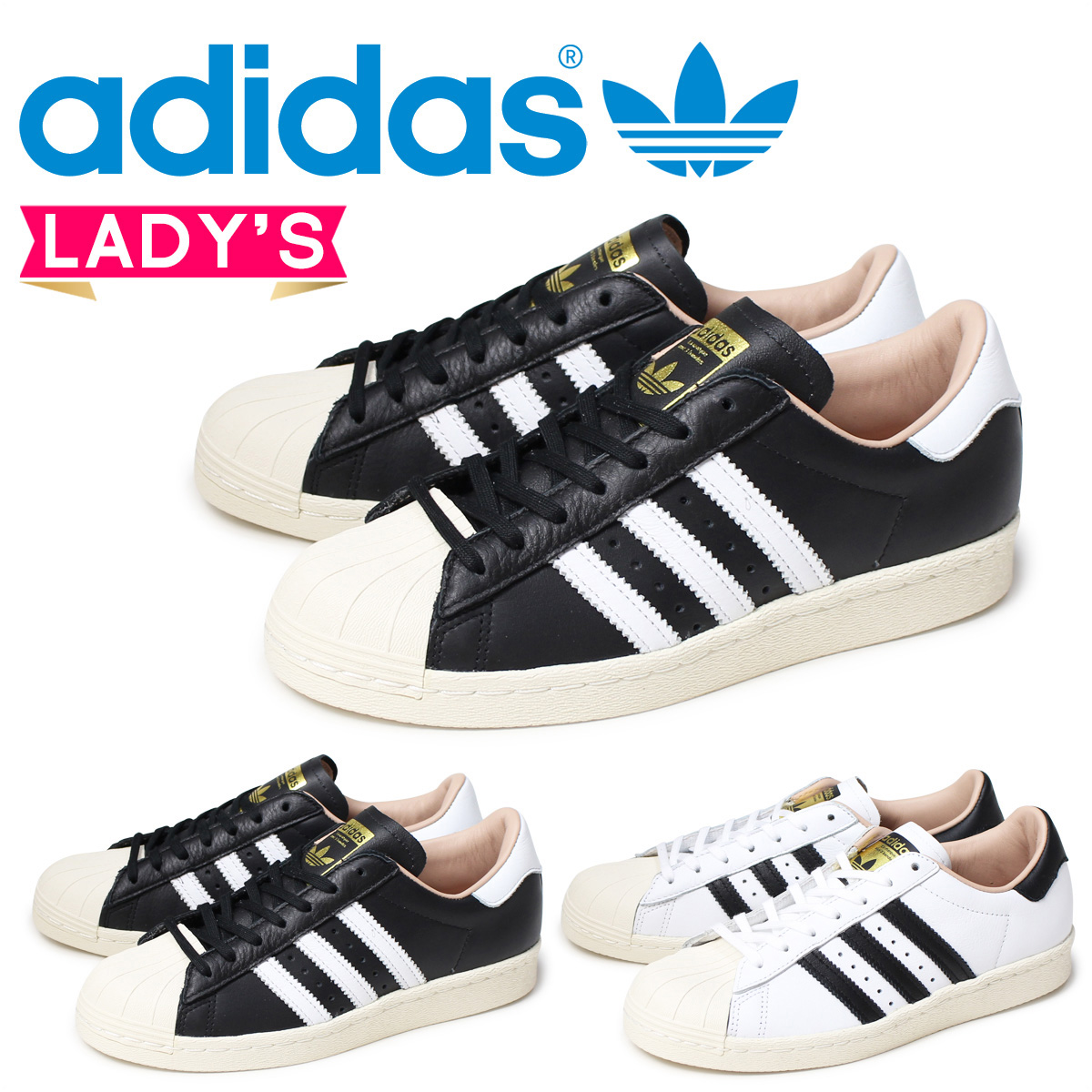 88c54717d90 Adidas superstar adidas Originals Lady s sneakers SUPERSTAR 80S W BY2957  BY2958 shoes white black originals