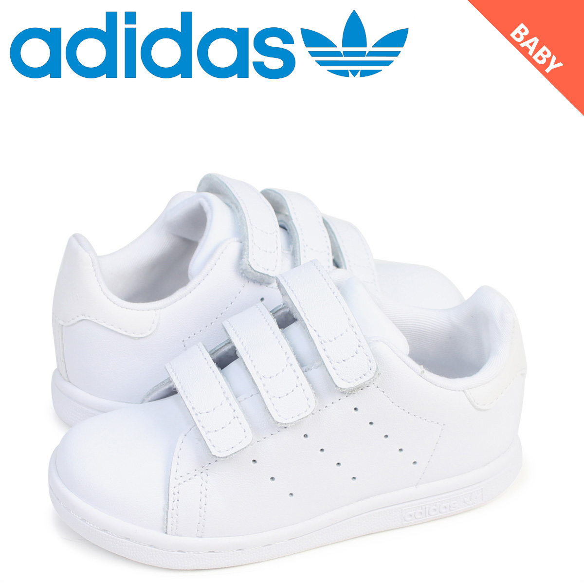 quality design 799f2 79bd6 adidas Stan Smith Velcro kids baby Adidas Originals sneakers STAN SMITH CF  I BZ0521 shoes white white