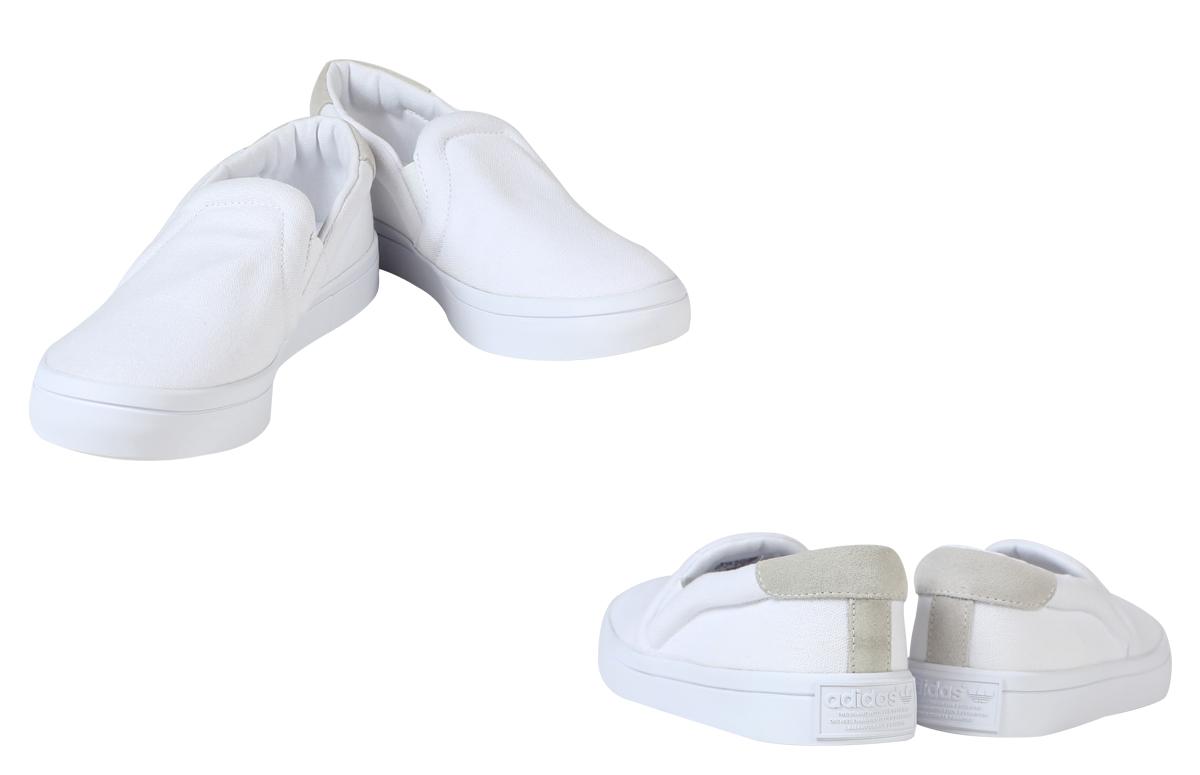 adidas Originals阿迪达斯原始物大衣优势懒汉鞋运动鞋女士COURT VANTAGE SLIP ON W S75172鞋白