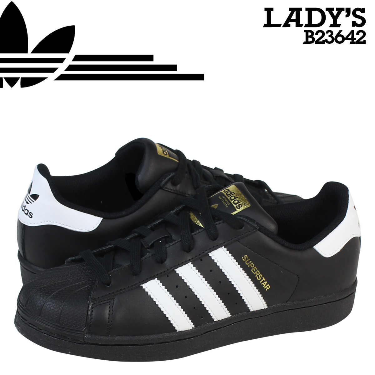 new arrival 32f58 6dd2c Sugar Online Shop Adidas originals adidas Originals Ladys SUPERSTAR  FOUNDATION J sneakers superstar foundation youth B23642 black  Rakuten  Global Market