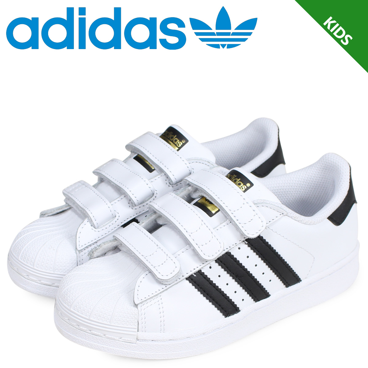 24565b56c adidas Originals Adidas originals superstar sneakers kids Velcro SUPERSTAR  FOUNDATION CF C white white B26070  3 11 Shinnyu load