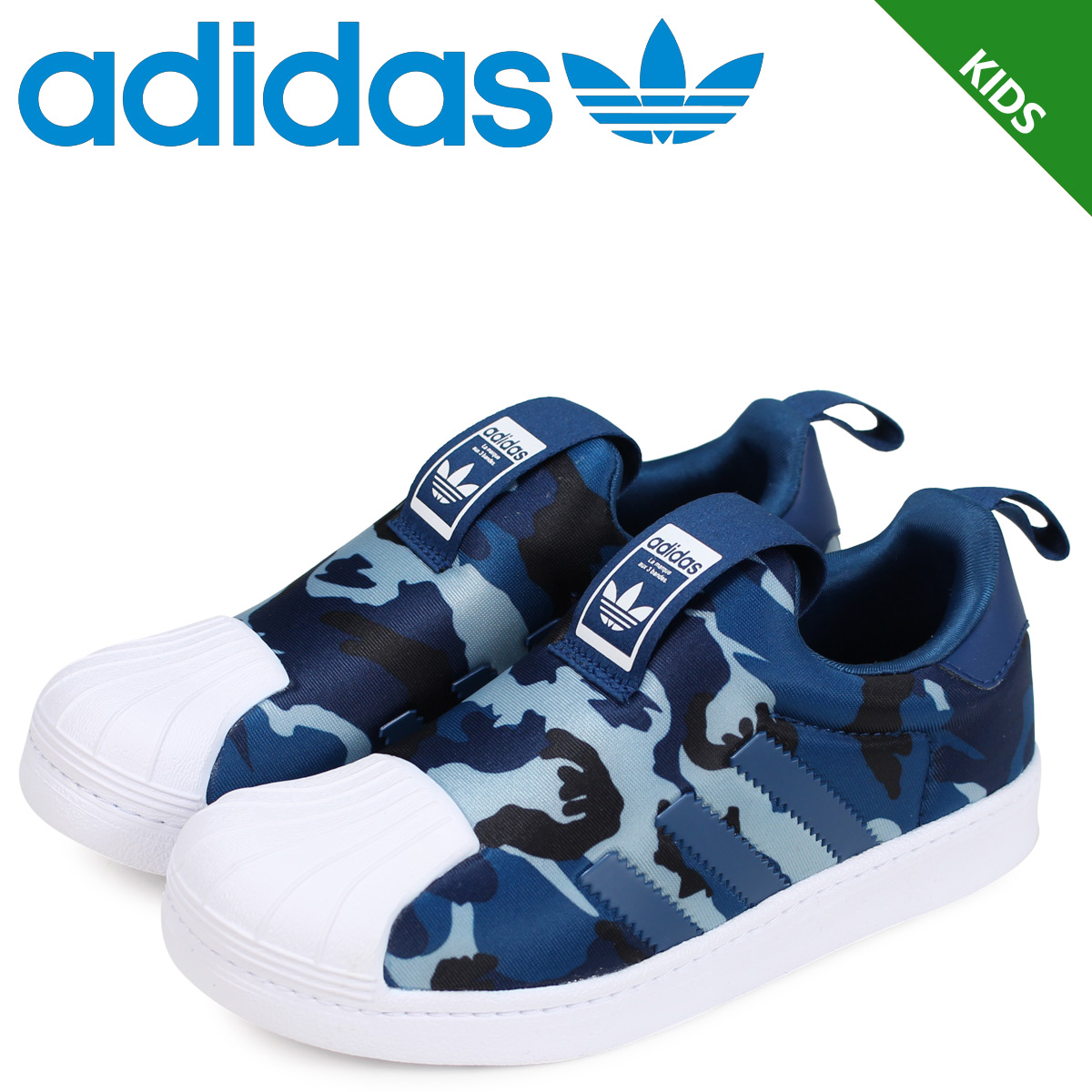 detailed look ba98a d1984 adidas Originals superstar Adidas originals sneakers slip-ons kids SUPERSTAR  360 C CG6569 blue  12 18 Shinnyu load
