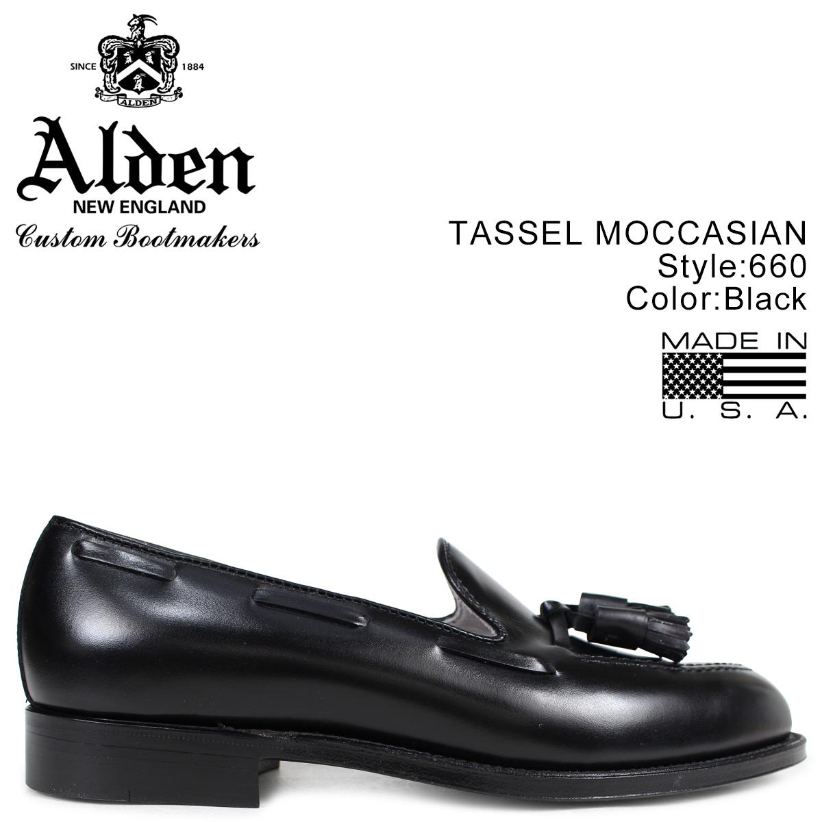 オールデン ALDEN ローファー タッセル シューズ メンズ TASSEL MOCCASIN ブラック Dワイズ 660