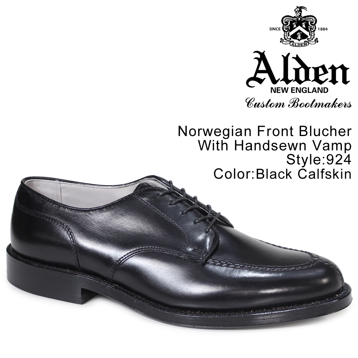 オールデン ALDEN シューズ メンズ NORWEGIAN FRONT BLUCHER WITH HANDSEWN VAMP Dワイズ 924