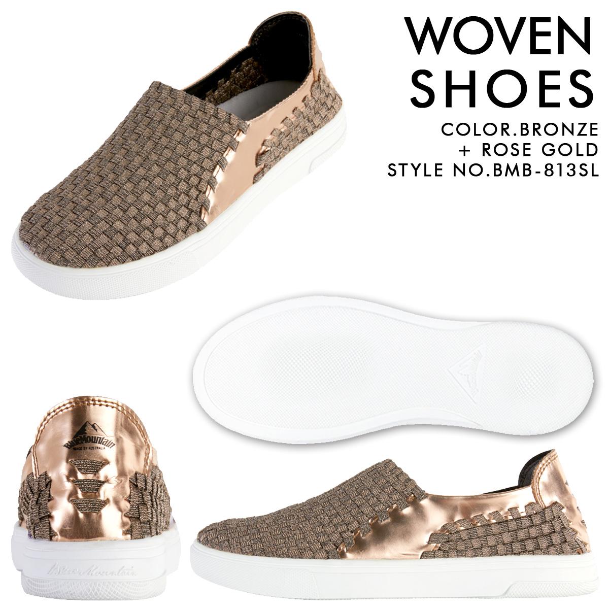 9e497ed5e9 BLUE MOUNTAIN Blue Mountain sandals Lady s slip-ons sneakers WOVEN SLIP-ON  BMB-813SL BMB-814SL shoes gold silver