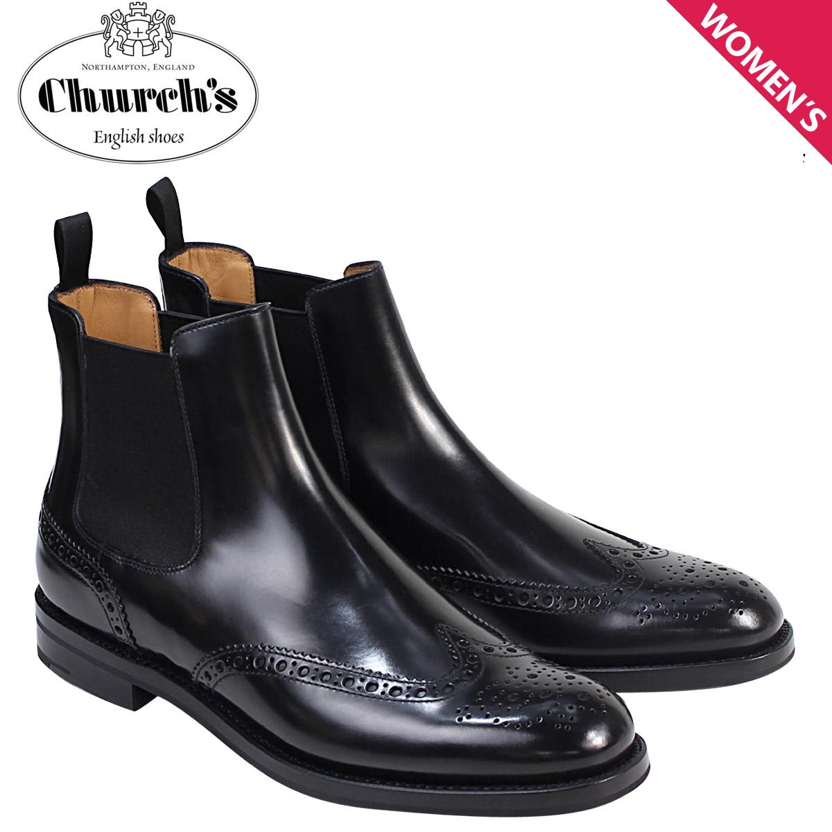 Churchs 靴 レディース チャーチ ブーツ サイドゴア ショートブーツ ウイングチップ Ketsby WG Polish Binder Calf 8706 DT0001 ブラック 黒