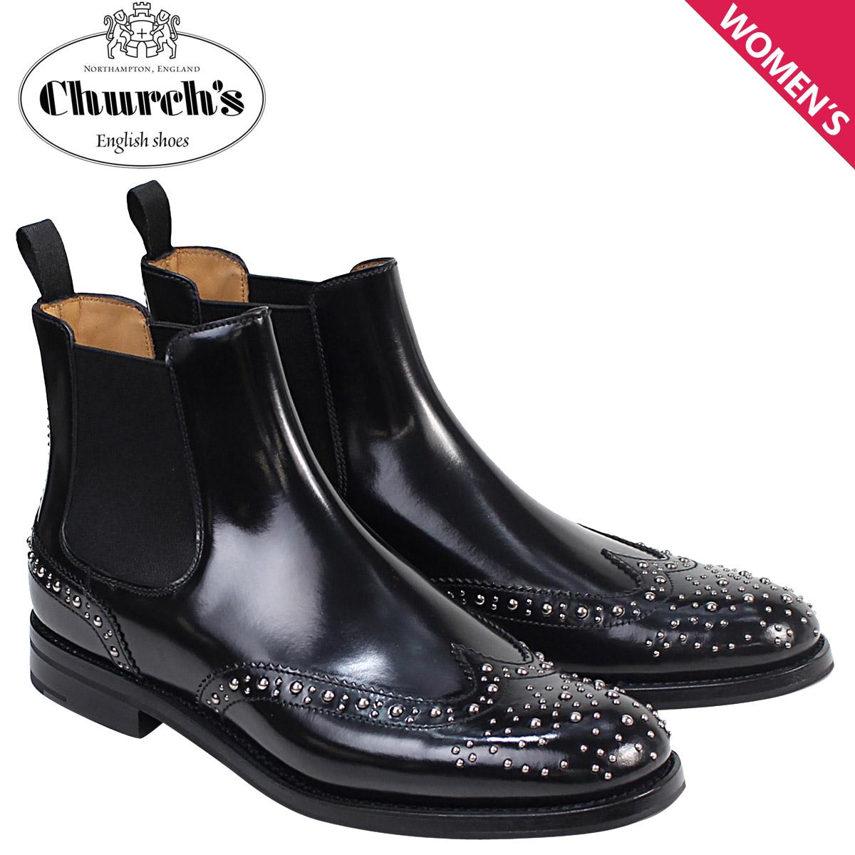 Churchs 靴 レディース チャーチ ブーツ サイドゴア ショートブーツ ウイングチップ Ketsby Met Polish Binder Calf 8748 DT0004 スタッズ ブラック 黒