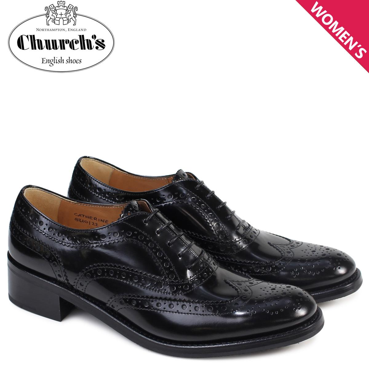 Churchs 靴 レディース チャーチ キャサリン シューズ ウイングチップ Catherine R Polish Binder Calf 8810 DE0003 ヒール ブラック 黒
